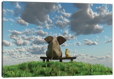 Elephant And Dog Are Sitting On A Meadow Canvas Art Print