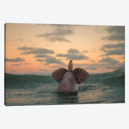 Elephant And Dog Swim In The Sea II Canvas Print #MII190} by Mike Kiev Canvas Wall Art