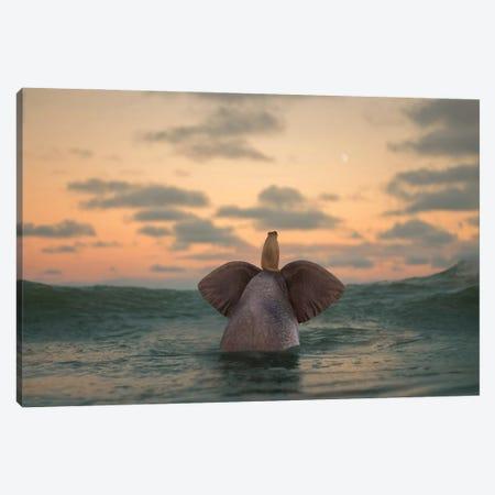 Elephant And Dog Swim In The Sea II Canvas Print #MII190} by Mike Kiev Canvas Wall Art