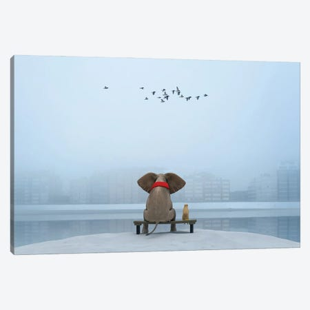 Elephant And Dog Sit On The River Bank In Winter Canvas Print #MII191} by Mike Kiev Canvas Artwork
