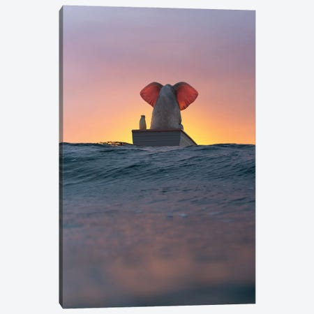 Elephant And Dog Sail In A Boat On The Sea Wave Canvas Print #MII192} by Mike Kiev Canvas Art