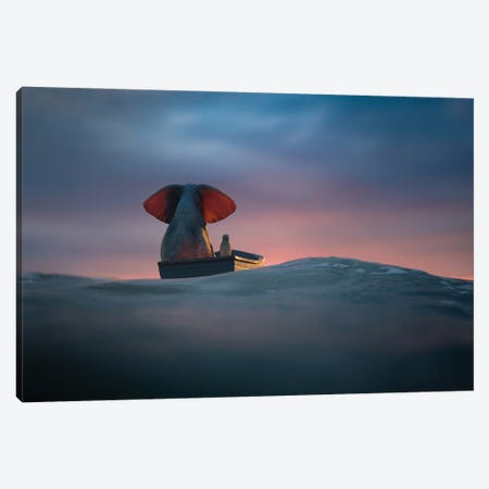 Elephant And Dog Sail In A Boat On The Sea Waves II Canvas Print #MII193} by Mike Kiev Canvas Wall Art