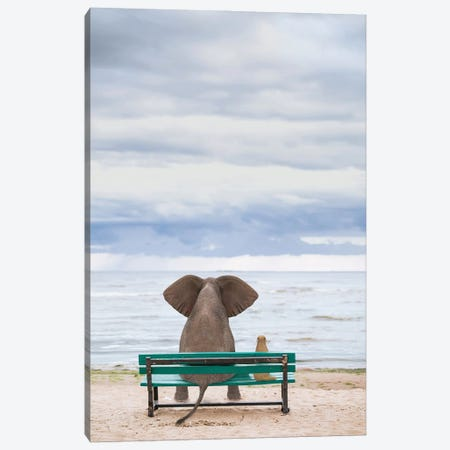 Elephant And Dog Sit On A Bench By The Sea II Canvas Print #MII195} by Mike Kiev Canvas Art Print
