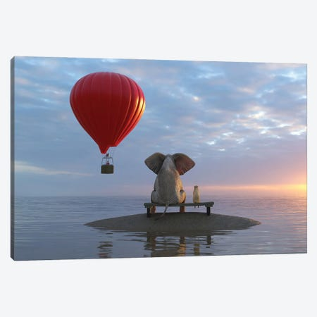 Elephant And Dog Sit On A Island And Looking On Hot Air Balloon Canvas Print #MII196} by Mike Kiev Canvas Art Print