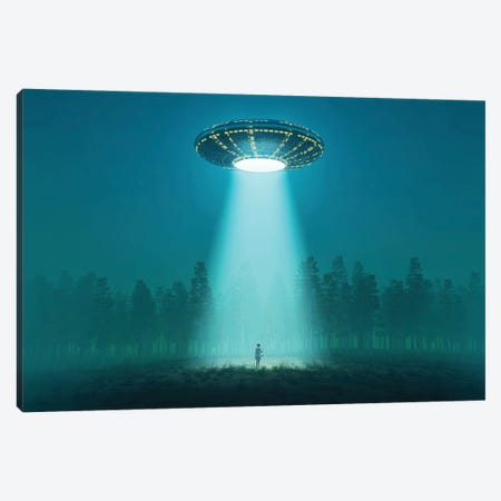 Flying Saucer At Night Canvas Print #MII200} by Mike Kiev Canvas Artwork