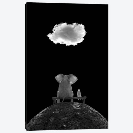 Elephant And Dog Sit On The Mountain And Look At The Cloud, B/W Canvas Print #MII204} by Mike Kiev Canvas Print