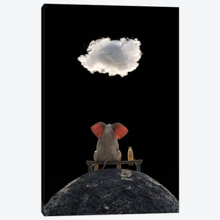 Elephant And Dog Sit On The Mountain And Look At The Cloud Canvas Print #MII205} by Mike Kiev Canvas Art Print