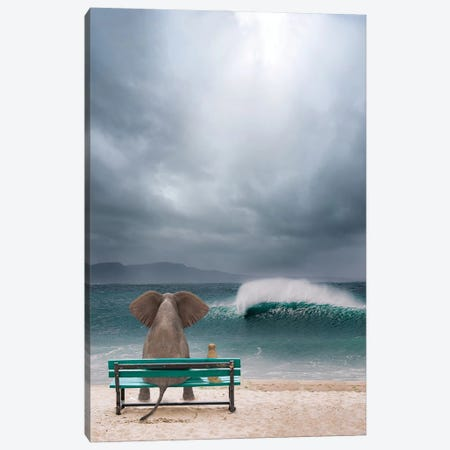 Elephant And Dog Sit By The Sea In A Storm Canvas Print #MII207} by Mike Kiev Art Print