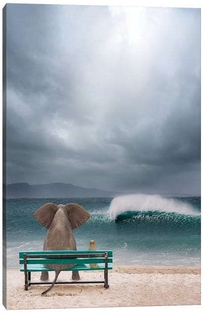Elephant And Dog Sit By The Sea In A Storm Canvas Art Print