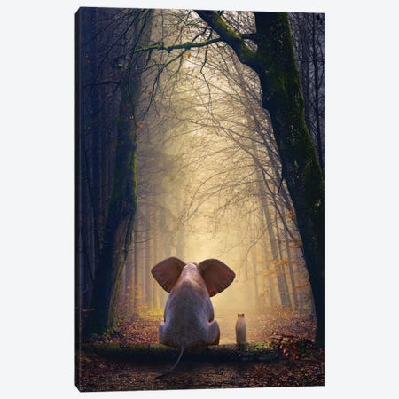 Elephant And Dog Sit In The Autumn Forest Canvas Print #MII209} by Mike Kiev Canvas Art
