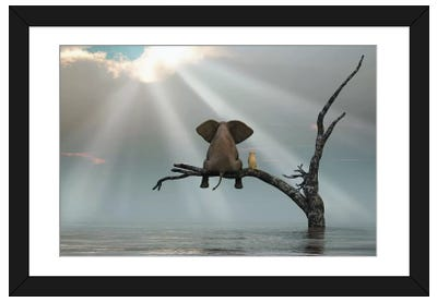 Elephant And Dog Are Sitting On A Tree Fleeing A Flood Framed Art Print
