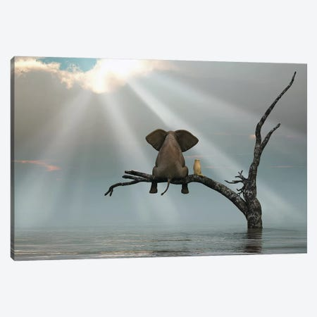 Elephant And Dog Are Sitting On A Tree Fleeing A Flood 3-Piece Canvas #MII20} by Mike Kiev Canvas Print