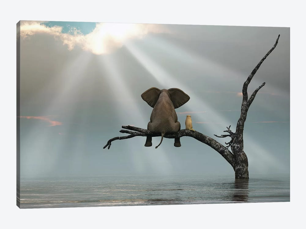 Elephant And Dog Are Sitting On A Tree Fleeing A Flood by Mike Kiev 1-piece Canvas Art