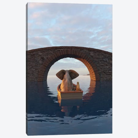 Elephant And Dog Float In A Boat Under The Bridge Canvas Print #MII214} by Mike Kiev Canvas Artwork