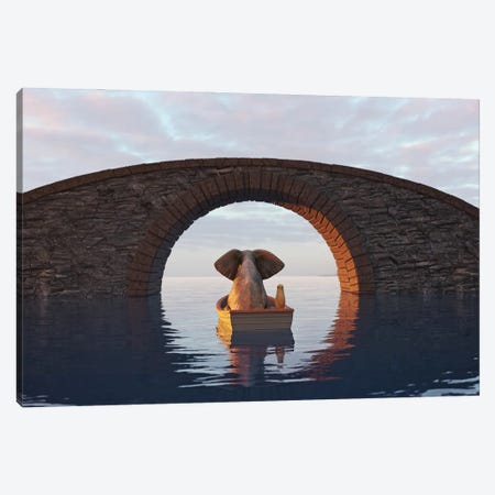 Elephant And Dog Float In A Boat Under The Bridge II Canvas Print #MII215} by Mike Kiev Canvas Wall Art