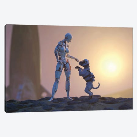 A Robot Playing With A Dog On The Surface Of Mars Canvas Print #MII216} by Mike Kiev Canvas Wall Art