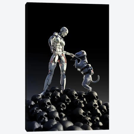 Robot And Dog Stands On A Pile Of Skulls Canvas Print #MII217} by Mike Kiev Canvas Artwork