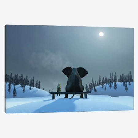 Elephant And Dog At Christmas Night Canvas Print #MII21} by Mike Kiev Canvas Print