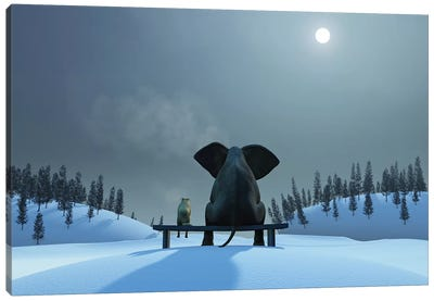 Elephant And Dog At Christmas Night Canvas Art Print