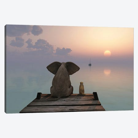Elephant And Dog Sit On The Pier Canvas Print #MII222} by Mike Kiev Canvas Artwork