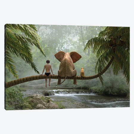 Child, Elephant Elephant And Dog Sit On A Palm Tree In Tropical Forest Canvas Print #MII225} by Mike Kiev Canvas Art Print