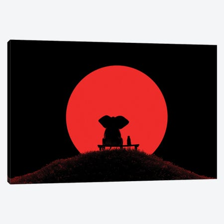 Elephant And Dog Look At The Red Moon Canvas Print #MII229} by Mike Kiev Canvas Art