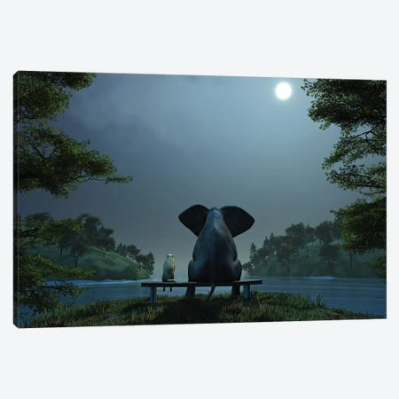 Elephant And Dog At Summer Night Canvas Print #MII22} by Mike Kiev Art Print