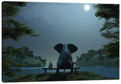 Elephant And Dog At Summer Night Canvas Art Print