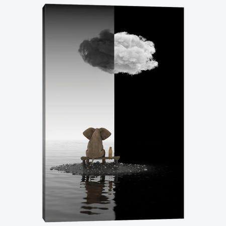 Elephant And Dog Sit On A Island, B&W Canvas Print #MII235} by Mike Kiev Canvas Artwork