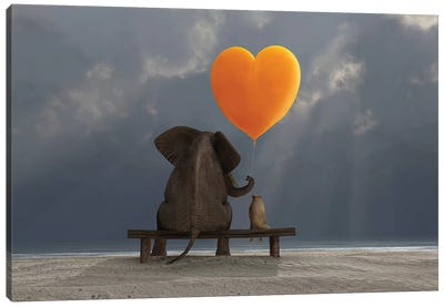 Elephant And Dog Holding A Heart Shaped Balloon Canvas Art Print