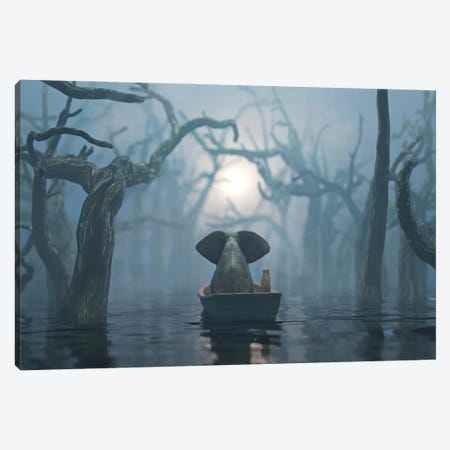 Elephant And Dog Float On A Boat On The River In The Fog Canvas Print #MII249} by Mike Kiev Canvas Wall Art