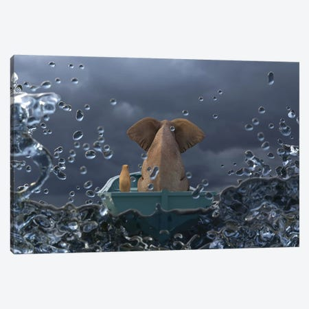 Elephant And Dog Is Sailing In A Boat In A Stormy Sea Canvas Print #MII24} by Mike Kiev Canvas Art