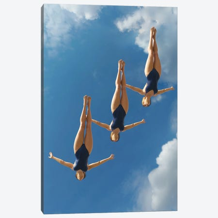 Three Women Jump Into The Water From A Height II Canvas Print #MII251} by Mike Kiev Canvas Print