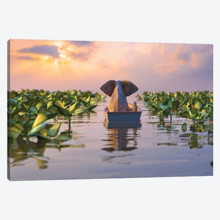 Elephant And Dog Float In A Boat On The River Canvas Print #MII257} by Mike Kiev Canvas Art