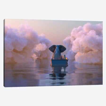 Elephant And Dog In A Boat Float Through The Clouds Canvas Print #MII258} by Mike Kiev Art Print