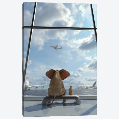 Elephant And Dog Sitting By The Window At The Airport Canvas Print #MII259} by Mike Kiev Canvas Art Print