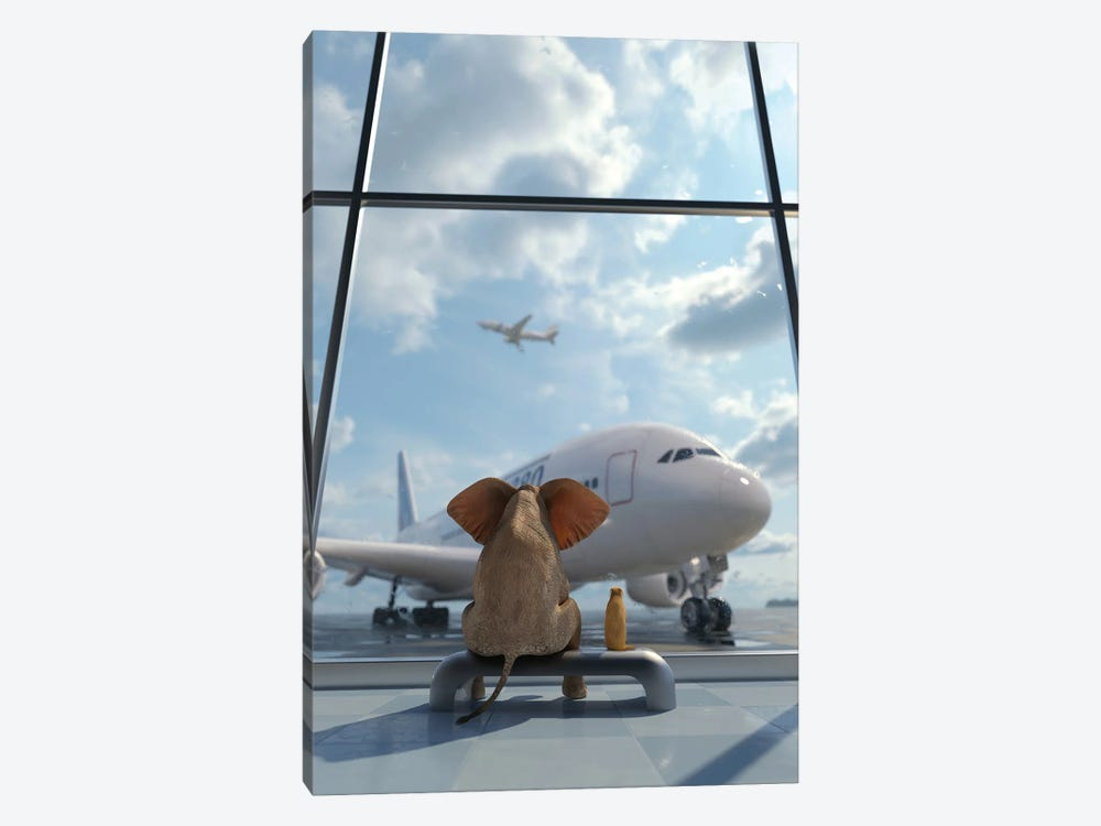 Elephant And Dog Sitting By The Window At The Airport II by Mike Kiev 1-piece Canvas Wall Art
