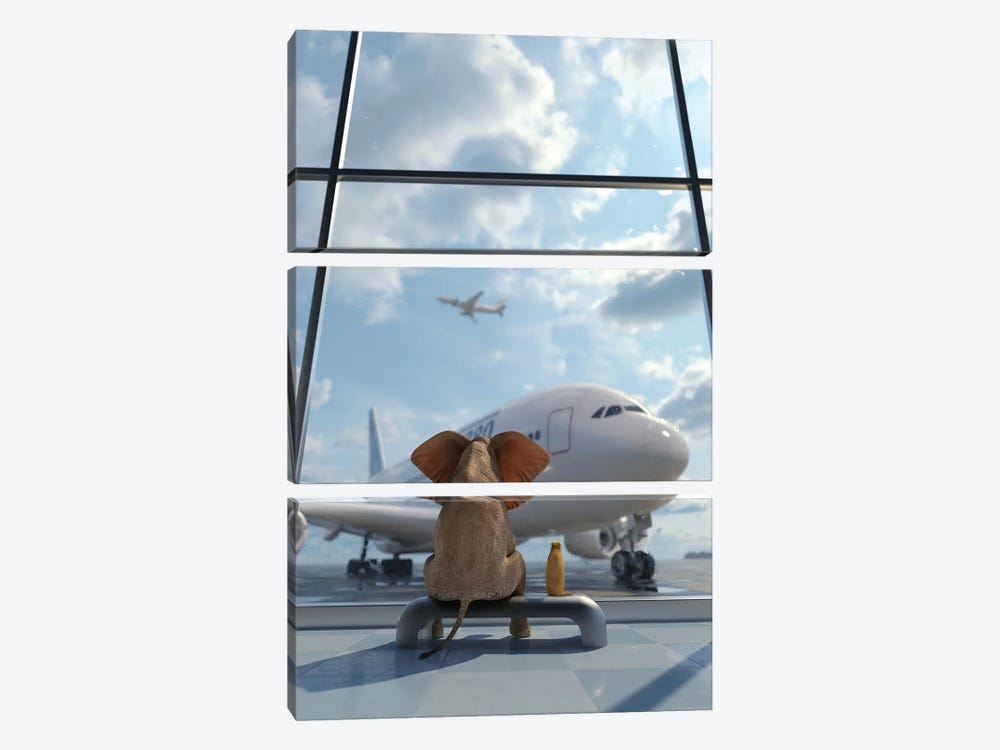 Elephant And Dog Sitting By The Window At The Airport II by Mike Kiev 3-piece Canvas Art