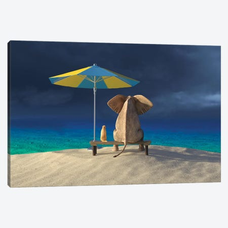 Elephant And Dog Look At The Stormy Sky Canvas Print #MII266} by Mike Kiev Canvas Art Print