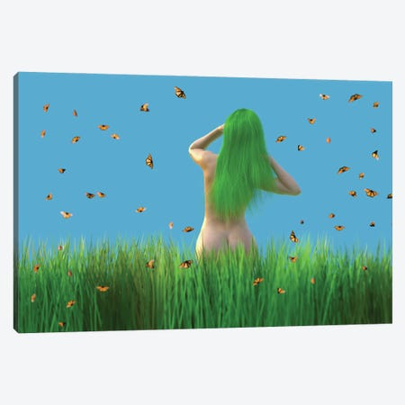 Woman With Green Hair Stands On A Meadow Canvas Print #MII267} by Mike Kiev Canvas Art Print