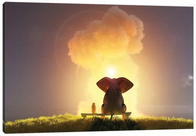 Elephant And Dog Look At The Big Pink Cloud III Canvas Art Print