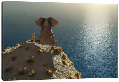 Elephant And Dog Rest On A Crag Near The Sea Canvas Art Print