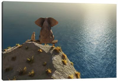 Elephant And Dog Rest On A Crag Near The Sea Canvas Art Print
