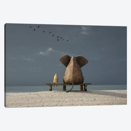 Elephant And Dog Sit On A Beach Canvas Print #MII30} by Mike Kiev Canvas Art