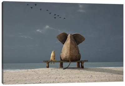 Elephant And Dog Sit On A Beach Canvas Art Print