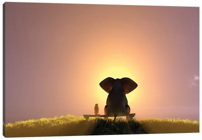 Elephant And Dog Sit On A Bench And Watch A Foggy Sunrise Canvas Art Print