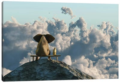 Elephant And Dog Sit On A Mountain Top Canvas Art Print