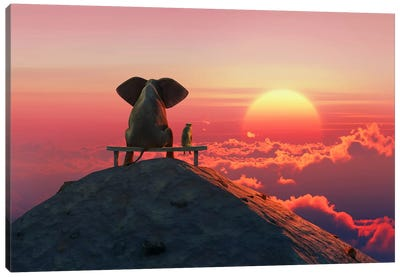 Elephant And Dog Sit On A Mountain Top At Sunset Canvas Art Print
