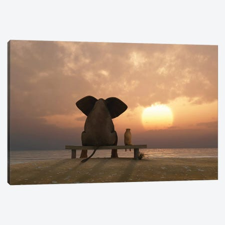 Elephant And Dog Sit On A Summer Beach At Sunset Canvas Print #MII34} by Mike Kiev Canvas Print