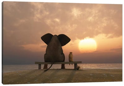 Elephant And Dog Sit On A Summer Beach At Sunset Canvas Art Print